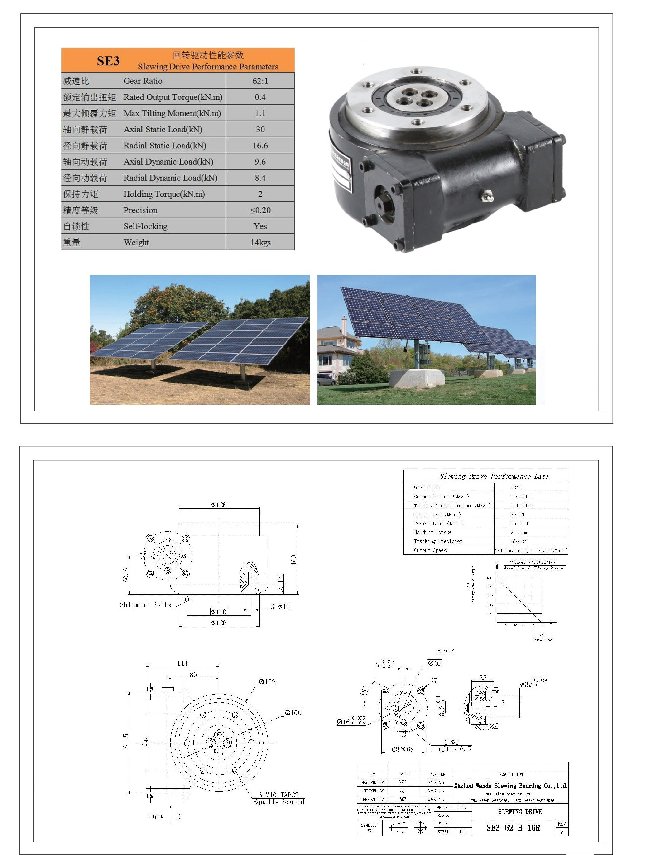 XZWD New Energy Solar Tracker Slewing Drive for Solar Tracker