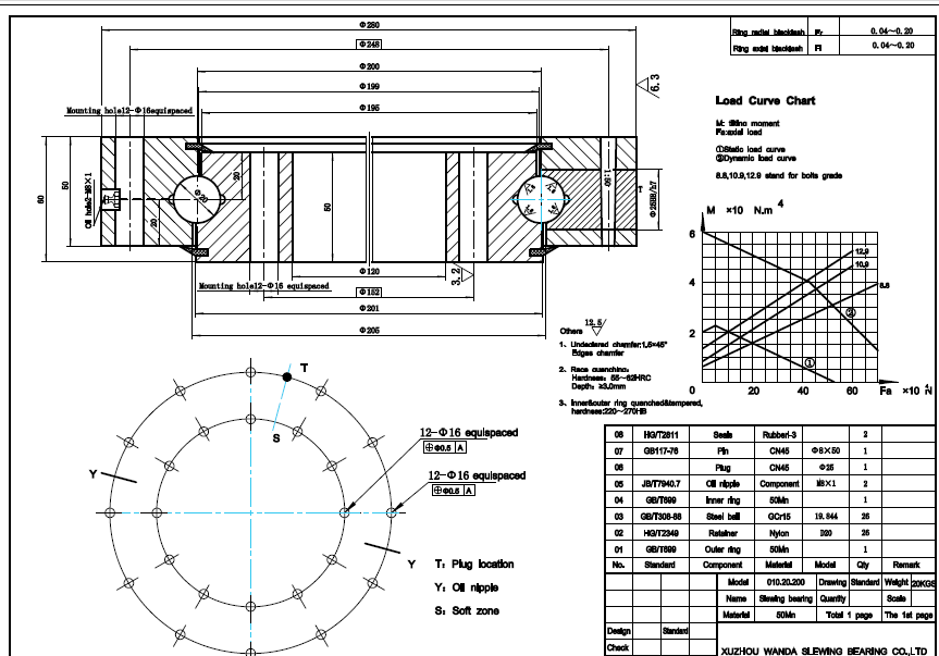 slewing ring bearing drawing